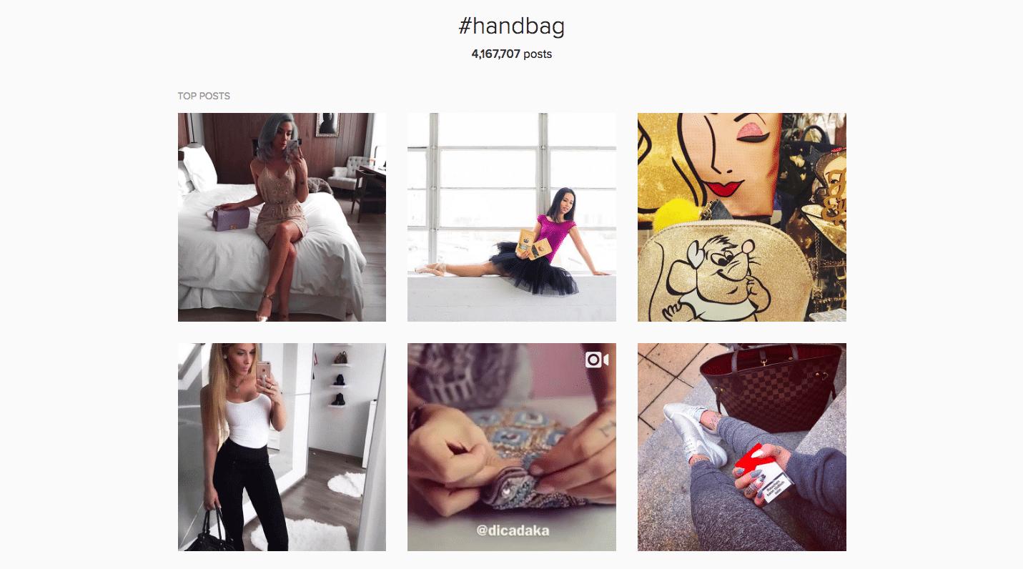 Ejemplo de investigación del hashtag Instagram