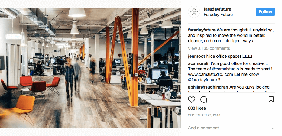 el futuro de faraday - el uso de instagram para su negocio